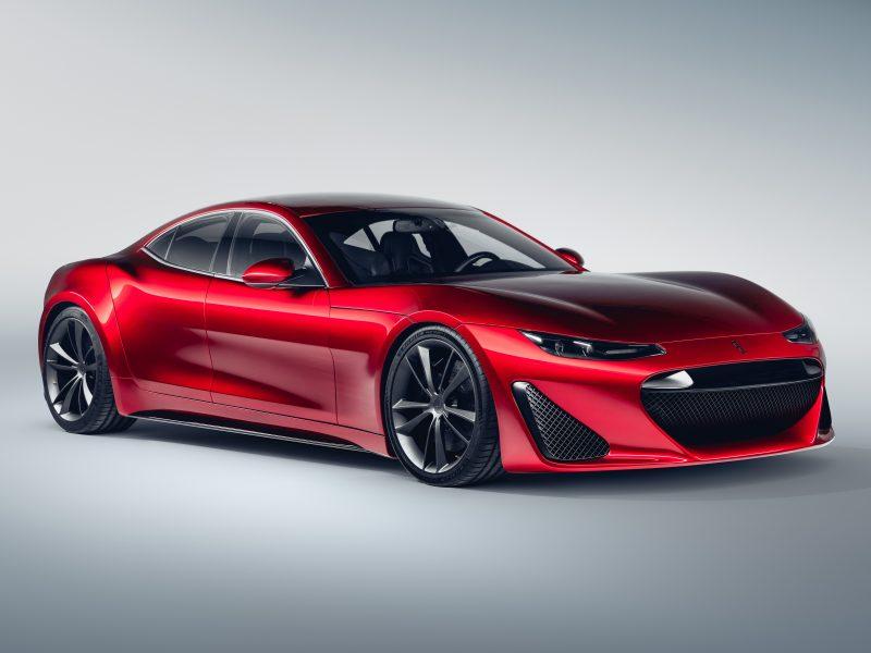 Красный автомобиль  Drako GTE, 2020 года на сером фоне вид спереди