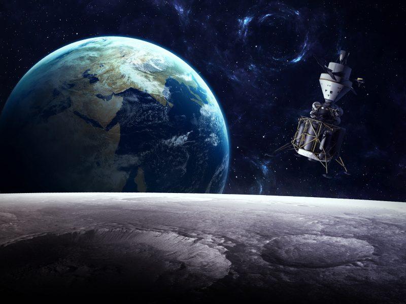 Вид с луны на спутник и планету Земля в космосе