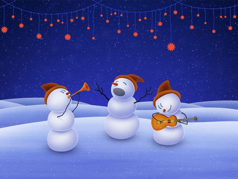 Обои music, stars, Christmas, snowman