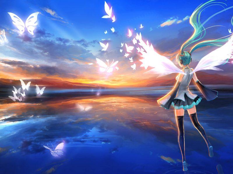 Обои крылья, Vocaloid, девушка, наушники, hatsune miku, голубые волосы