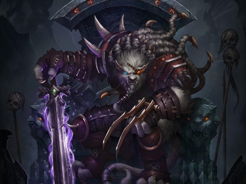 Обои трон, меч, rengar, повязка, череп, воин, league of legends, волк, Арт