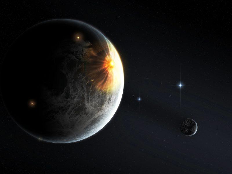 Обои свет, планета, спутник, Небо, звезды