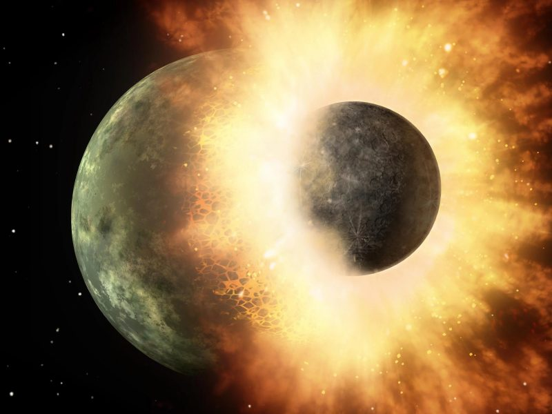 Обои пространство, планета, катастрофа, разрушение, столкновение для рабочего стола