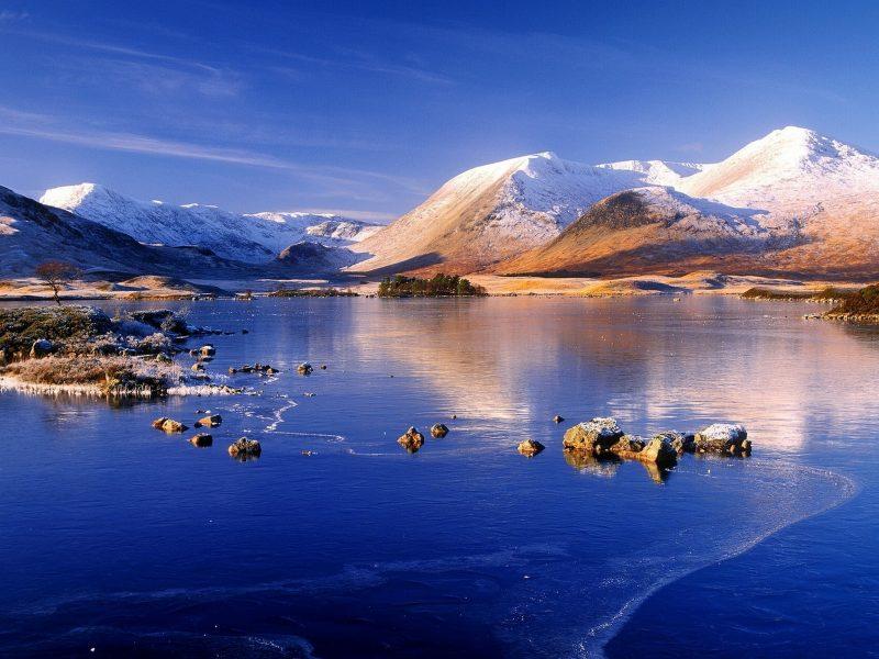 Обои небо, горы, море, краски, ретушь для рабочего стола