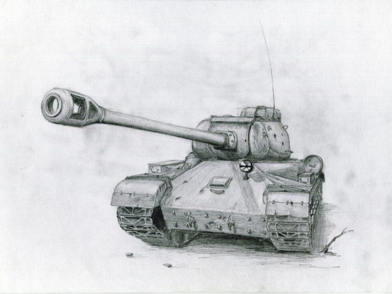 Советский танк, пушка, карандашный рисунок, ис-2