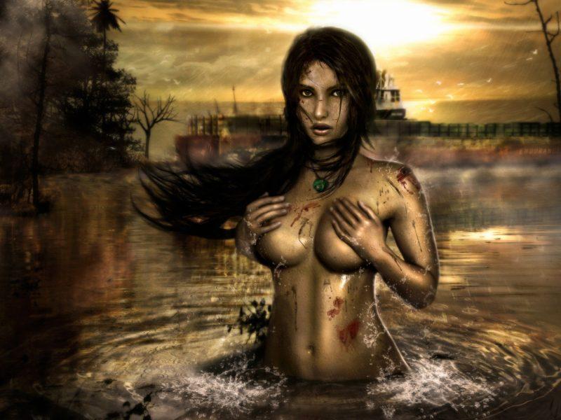 кровь, девушка, lara croft, вода, Tomb raider, дождь, фанарт, туман