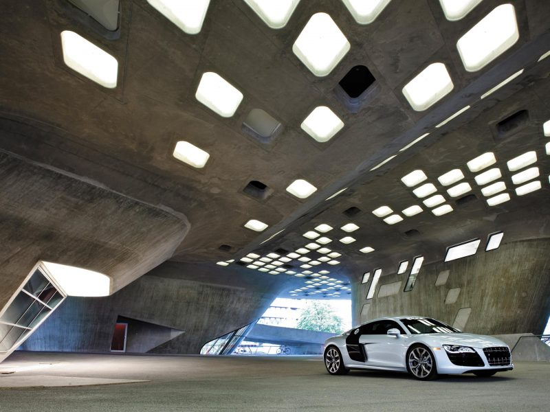 архитектура, гараж, Audi r8, здание