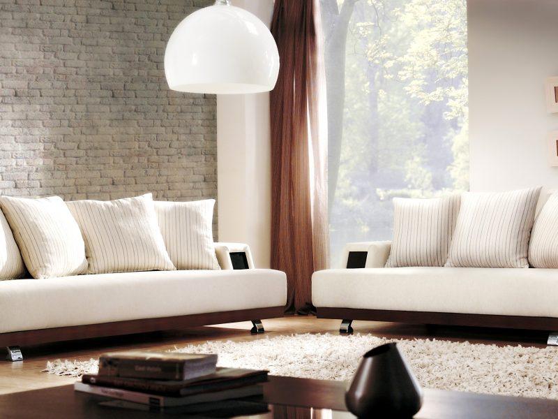 диваны, дизайн, Интерьер, белые, подушки, гостиная