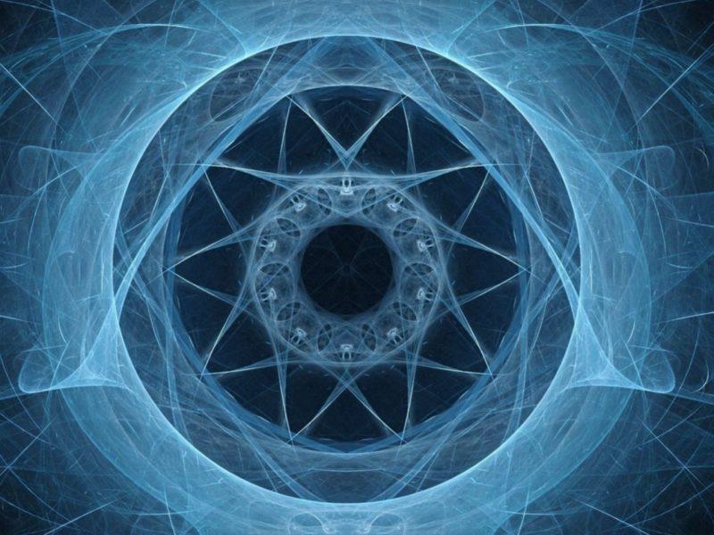 Неоновый симметрический фрактальный рисунок