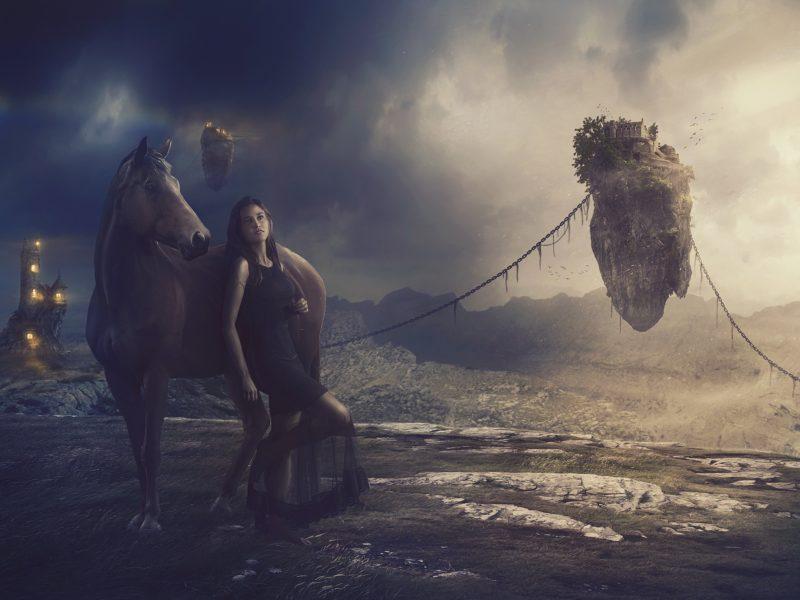 Девушка в черном платье с лошадью на фантастической планете