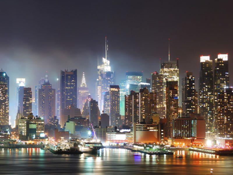 Вода, Города, Огни, Городской, Нью-Йорк