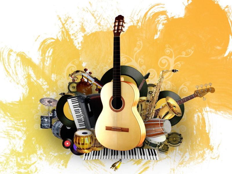 Обои painting, creative, Music, instrument