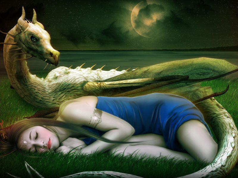 Обои сон, лицо, украшения, девушка, арт, спит, Фантастика