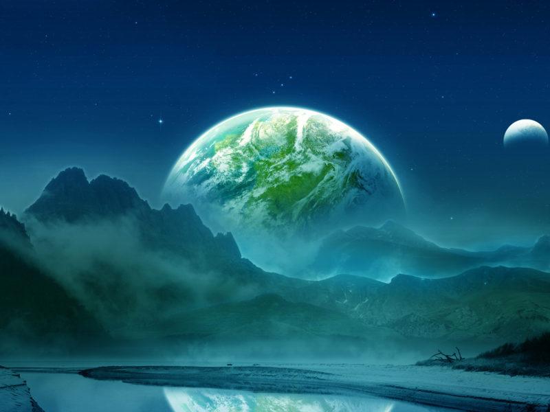 Обои спутник, горы, отражение, небо, туман, Планета, пейзаж