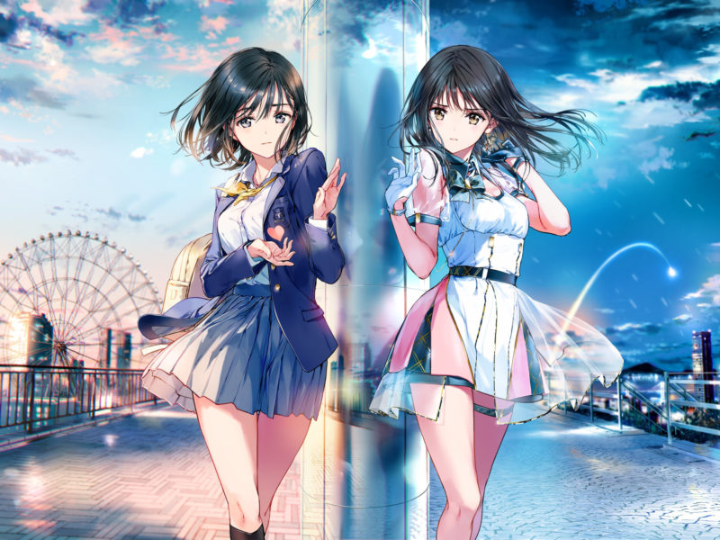 Обои anime girl, girl, beautiful, art, night, day, dress, fair, city на рабочий стол.