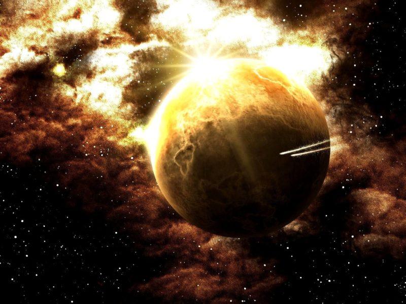 Обои планета, Космос, звезды, огни для рабочего стола