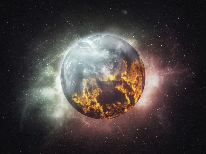 Обои космос, сияние, планета, звёзды для рабочего стола