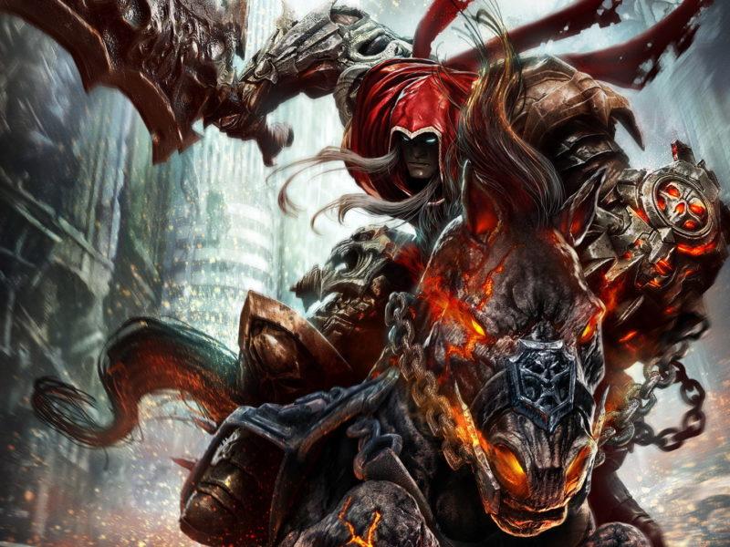 Обои Война, Darksiders, Wrath of War, меч, всадник, Руина, конь для рабочего стола