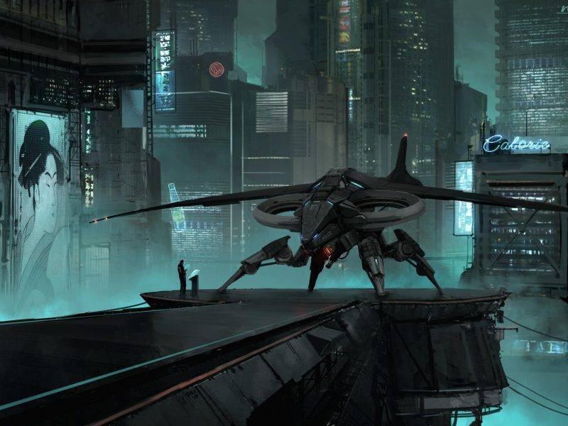 Обои город, фантастика, корабль, арт, sci-fi, Cyberpunk для рабочего стола