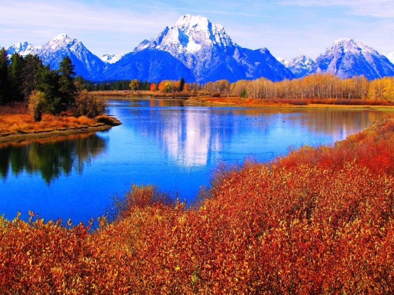 Обои горы, растительность, вода для рабочего стола
