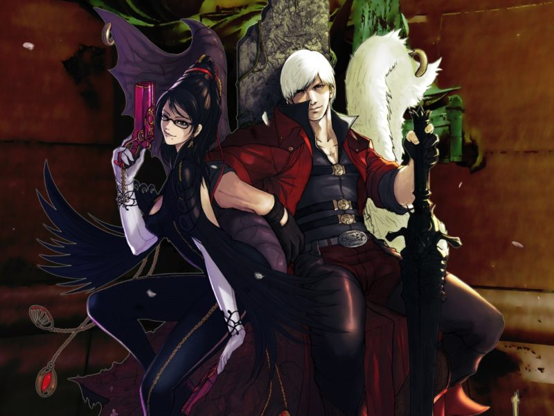 slayers in company, Bayonetta vs dmc, yukikaseni, dante, guns & swords, devil may cry, games