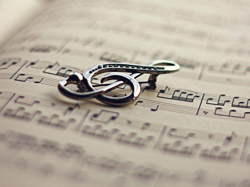 скрипичный, ключ, Книга, ноты
