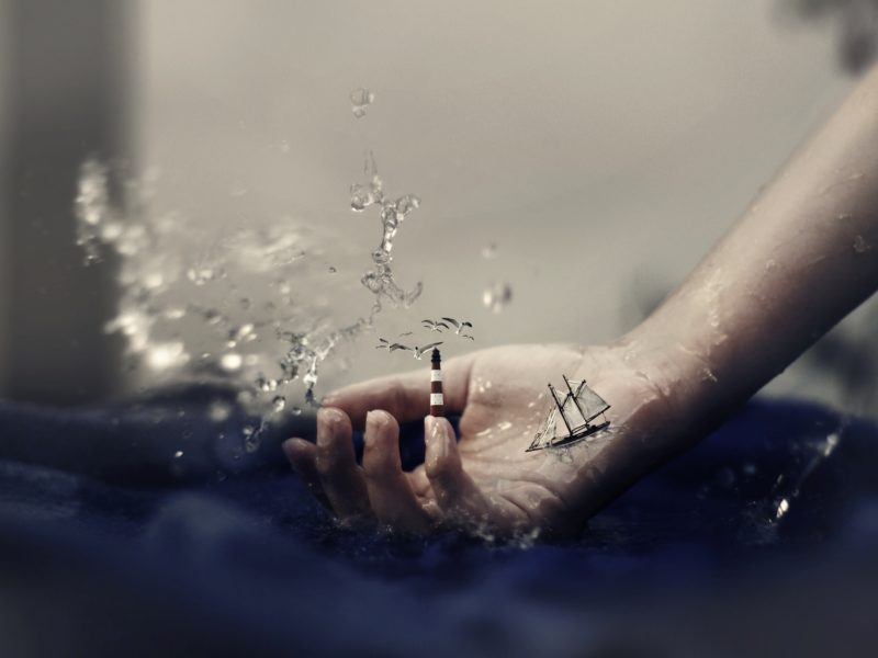 чайки, маяк, фантазия, вода, корабль, брызги, Рука