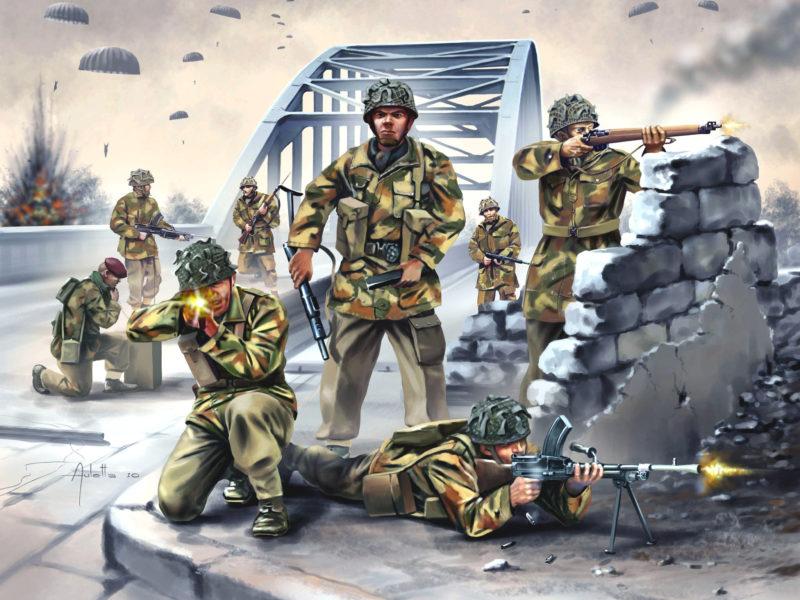 парашютисты, высадка, британские десантники, Арт, мост
