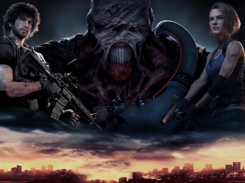 Солдаты и монстр из новой компьютерной игры Resident Evil 3, 2020