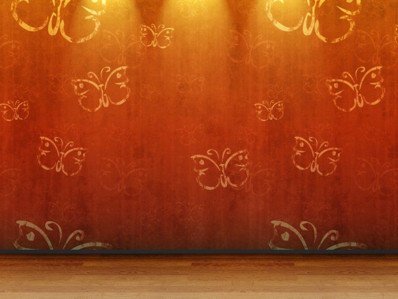 Этаж, 3D вид (3д), Стена, Комната, Деревянный пол, Бабочки