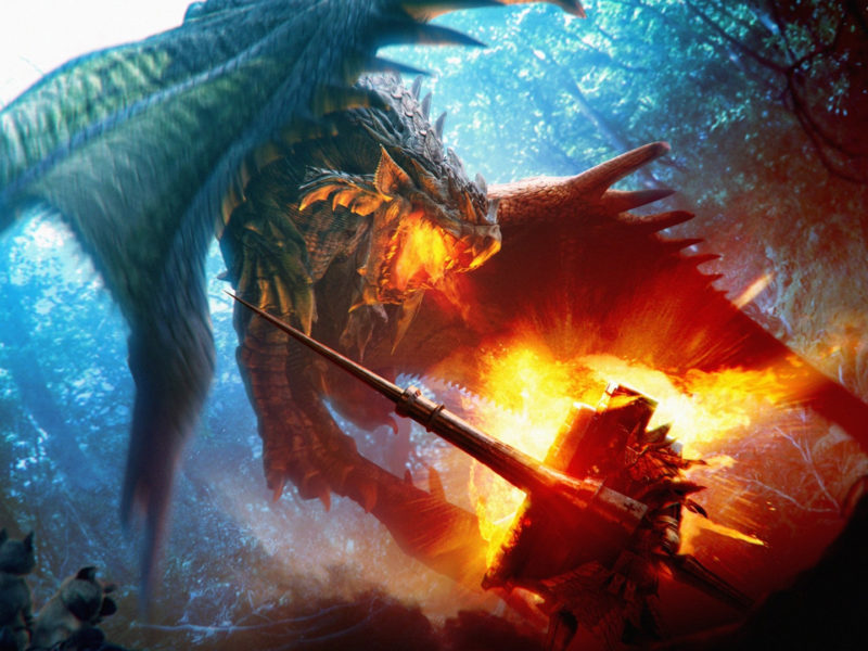Драконы, Monster Hunter, Фэнтази, Rathalos