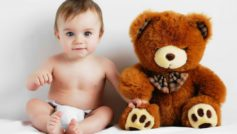 Обои ребенок, медвежонок, игрушка, детство, любовь