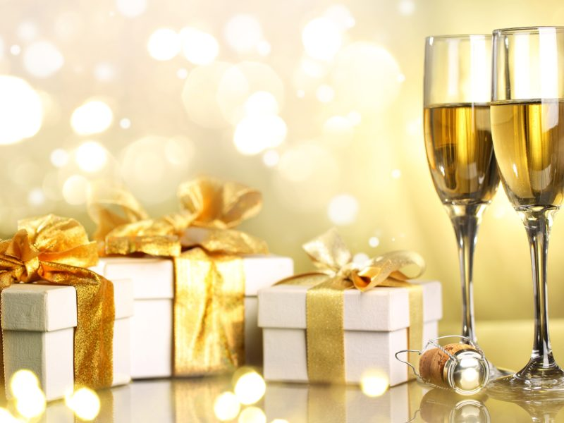 Обои merry christmas, Champagne, happy new year, gifts, ribbon, christmas, holiday, boxes