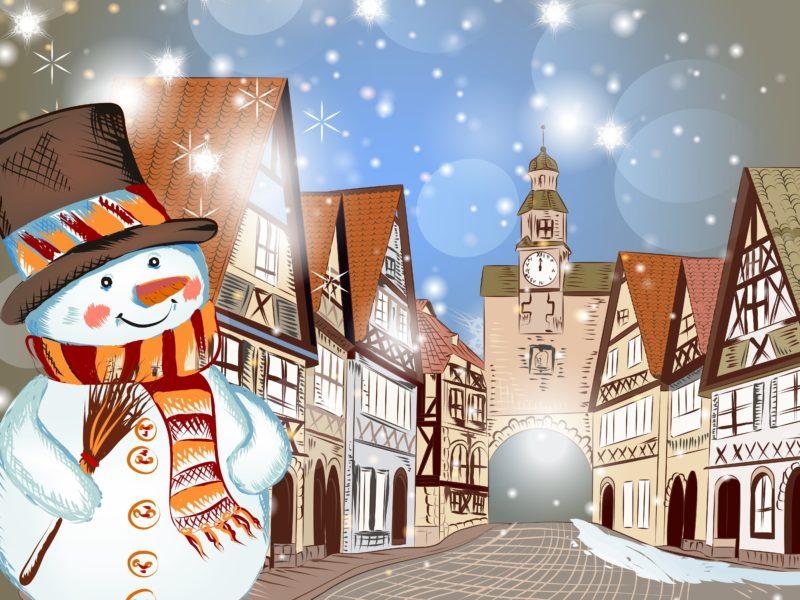 Обои Christmas, горы, зима, merry christmas, деревья, дом, снег