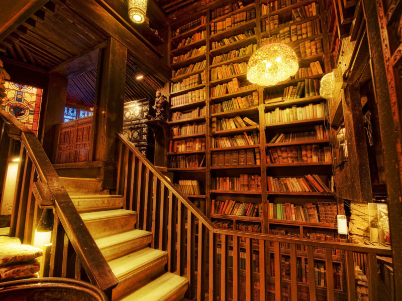 Обои shelving, Library, stairs, light, books
