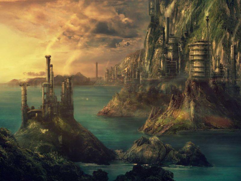 Обои Technopolis, pulpoglow, технополис, город, море, здания, art, fantasy