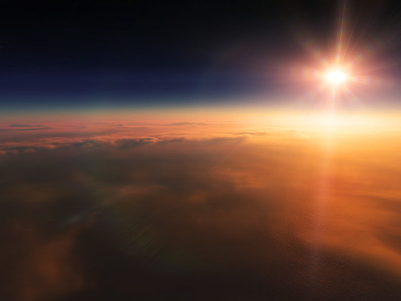 Обои облака, звёзды, Солнце, закат, лучи