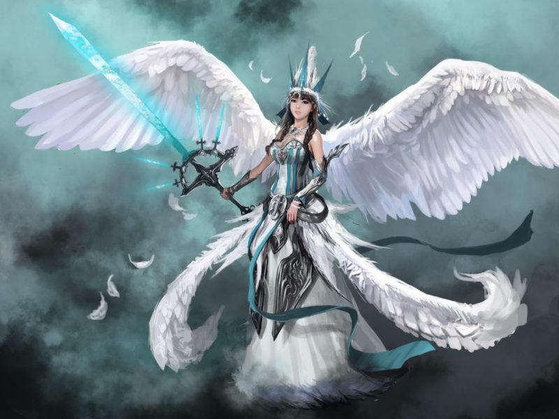 Обои девушка, оружие, ангел, Фантастика, angel, крылья, меч, арт
