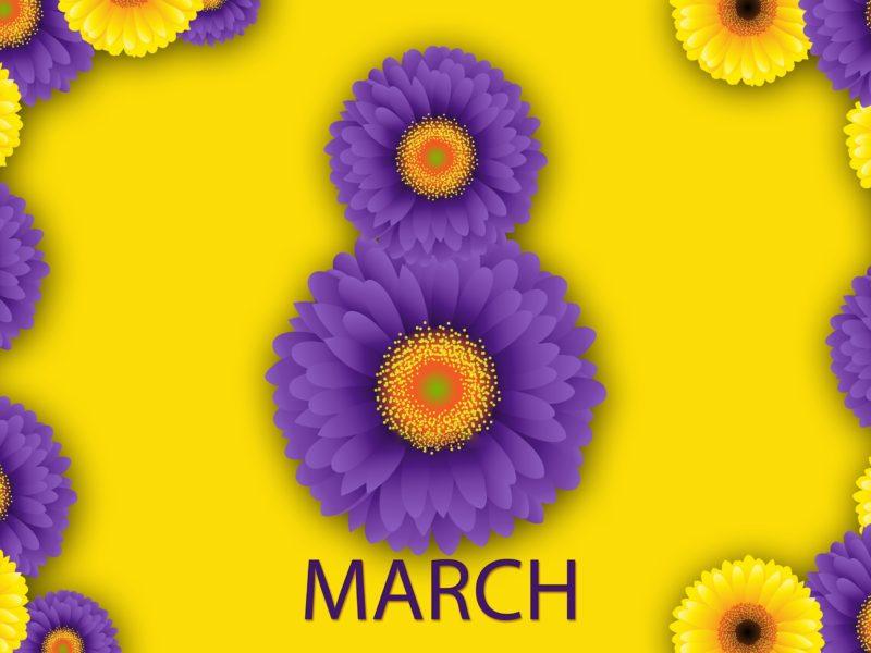 Обои восьмерка, зелень, растения, 8 марта, фон на рабочий стол.
