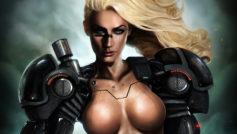 Обои blond, tits, hi-tech, cyborg, blue, eye, beautifull, pretty, warrior для рабочего стола