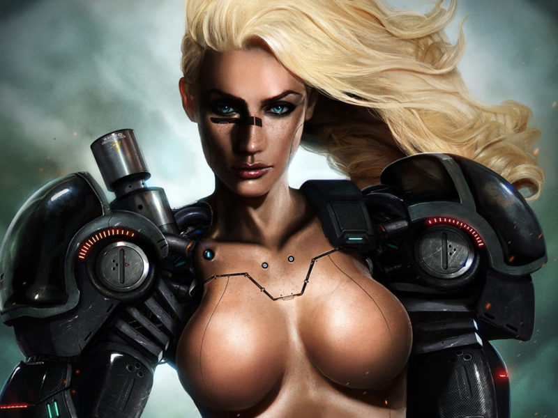 Обои blond, tits, hi-tech, cyborg, blue, eye, beautifull, pretty, warrior для рабочего стола