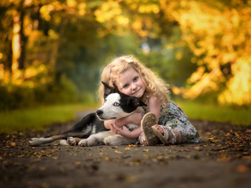 Обои ребёнок, девочка, малышка, платье, животное, собака, пёс, объятия для рабочего стола