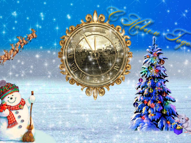 Обои елка, часы, снеговик для рабочего стола