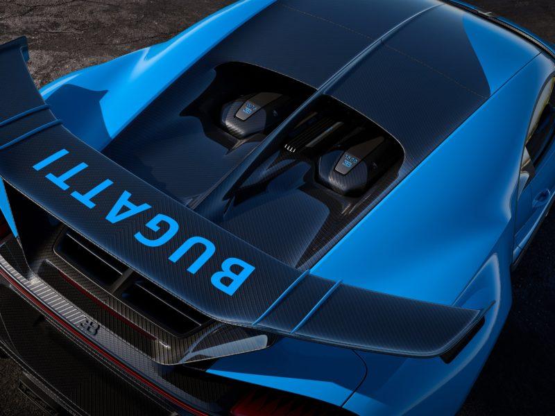 Обои Bugatti, спойлер, гиперкар, Chiron, 2020, Sport для рабочего стола