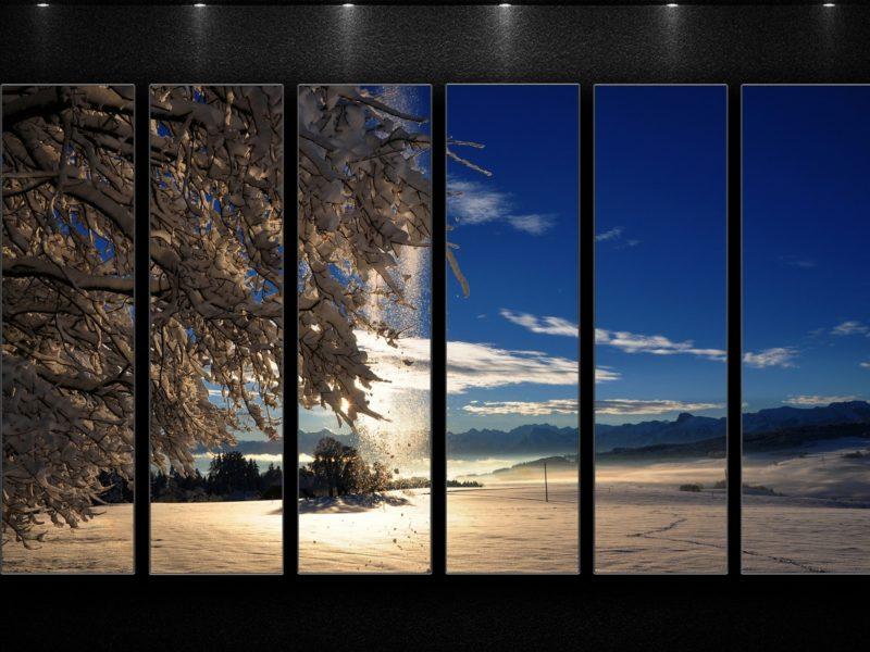 Обои окно, пейзаж, лампы для рабочего стола