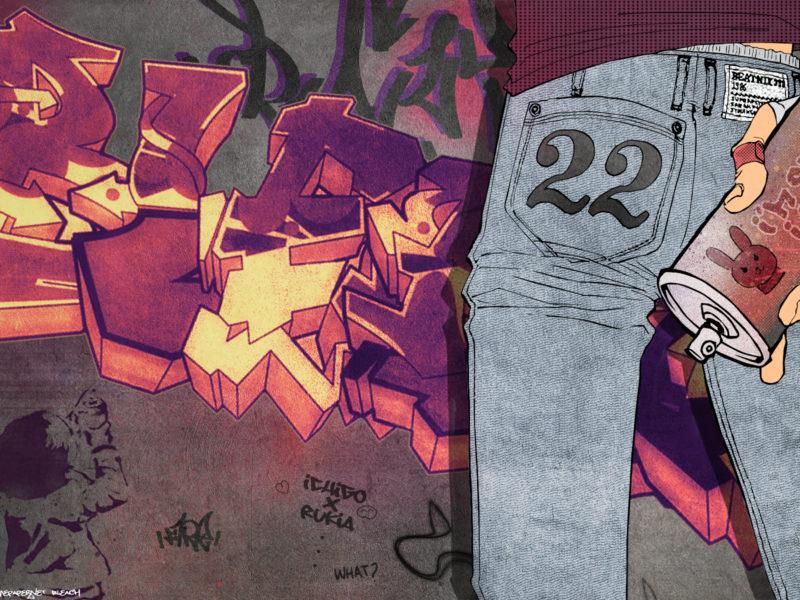 kurosaki ichigo, Bleach, graffiti, джинсы, граффити, балончик, стена, kubo tite