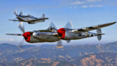 North american, истребитель, p-38g, ww2, p-51, полет, mustang, lighting, небо