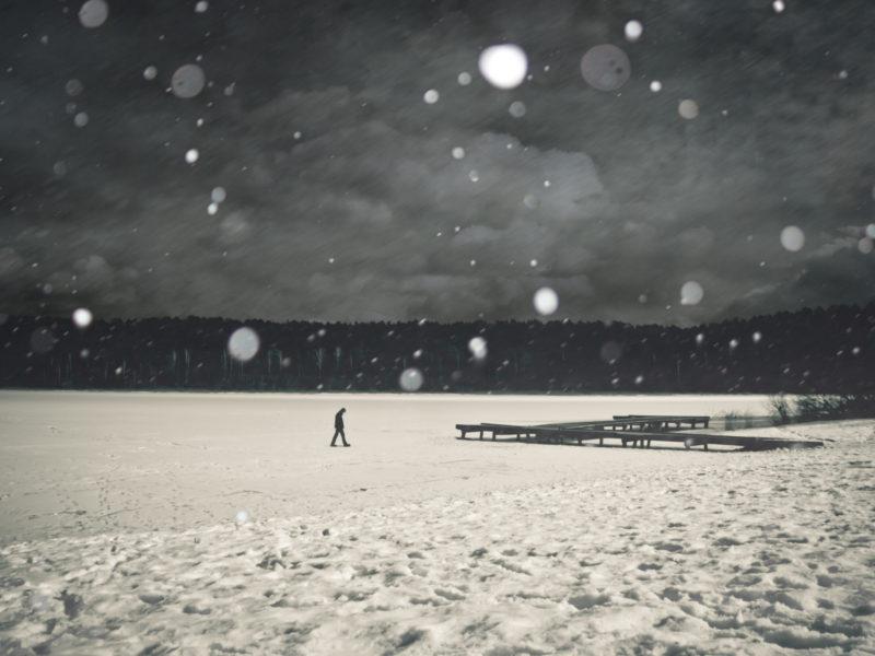 белое, зима, холод, настроение, Черное, пирс, лед, снег