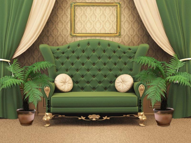 диван, Интерьер, комната, зеленый, стиль, дизайн