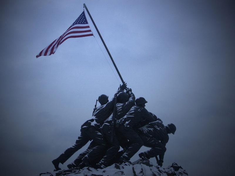солдаты, Памятник, америка, флаг